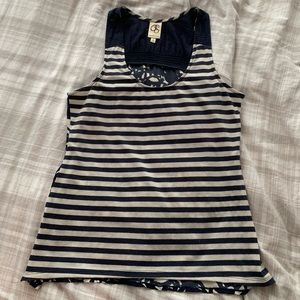 Striped and patterned tank top